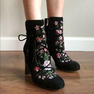 Sam Edelman 5 Winnie Black Suede Ankle Boot Anthro